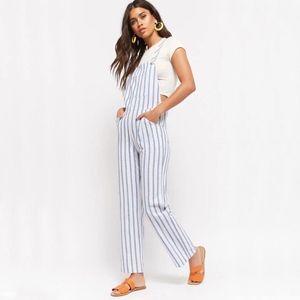 Forever 21 Linen-Blend Striped Overalls Blue / Wht